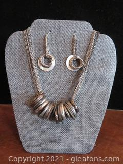 Multi Strand Silver Necklace with Gray Rings and Earrings Set