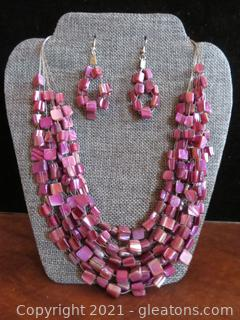 Striking Purple Multi String Stone Necklace and Earrings