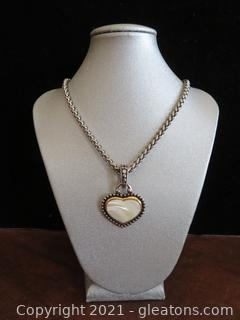 Silver Lovely Necklace with Ivory Heart Charm