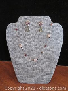 Beautiful Purple and Gray Necklace and Earring Set