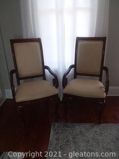 Pair of Thomasville King Street Cognac Upholstered Dining Arm Chairs