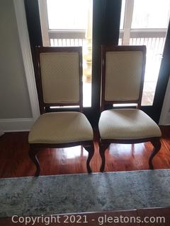 Pair of Thomasville King Street Cognac Upholstered Dining Side Chairs
