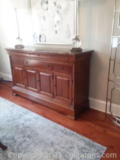 Thomasville King Street Credenza Dark Emperador Marble top with Cognac Finish (Lamps not Included)