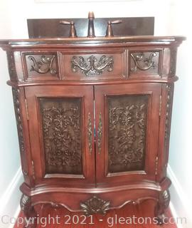 Gorgeous Single Sink Hand Finished Mahogany Bathroom Vanity With Sink