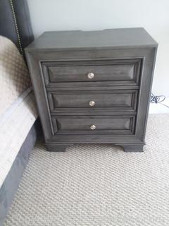 3 Drawer Gray Traditional Style Nightstand