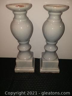 Pair Distressed Crackle Blue Finish Ceramic Candle Pillars