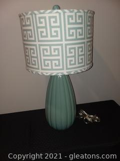 Pleated Table Lamp with Geometric Shade