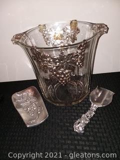 Arthur Court Aluminum Metal and Glass Ice Bucket and Scoop (Grape)