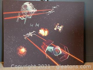 "Pottery Barn Kids ""Stars Wars"" Battle Scene on Stretched Canvas"