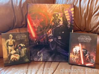 Star Wars The Force Awakens Stretched Canvas Wall Art Lot of 3