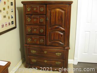 Mid-Century Solid Wood Chest of Drawers with Storage Shelves Behind the Door on Right