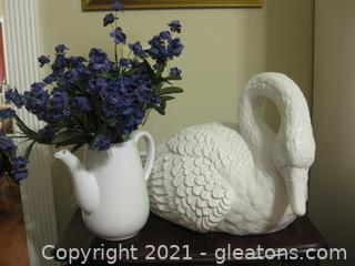Wood-Look Swan and Ceramic Pitcher of Faux Lilacs