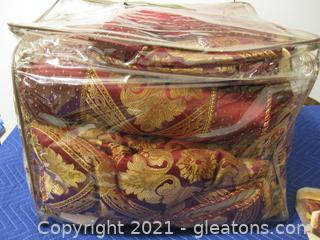 10+ Piece Bedding Set-King – Burgundy and Gold