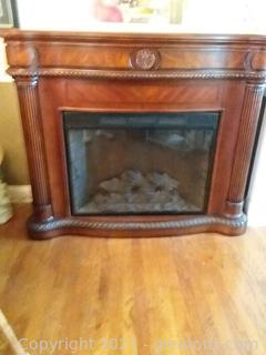 Large Electric Fireplace with Beautiful Inlaid Design
