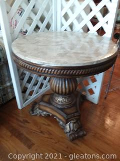 Gorgeous Marble Topped Round Pedestal Table (A)