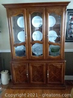 Mid Century China Cabinet with Bottom Storage (Contents not Included)