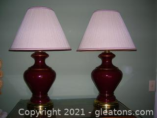 Maroon Porcelain Table Lamp (Set of 2)