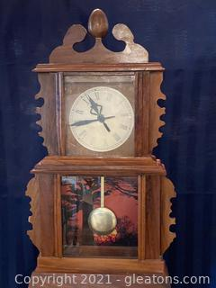 Ornate Wall Clock with Pendulum Handcarved-Back Has Been Repaired
