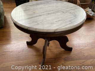 Rich Detailed Round Marble Topped End Table