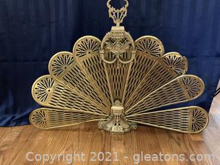 Brass Art Deco Style Fireplace Screen, (Ornate Folding Peacock Fan))