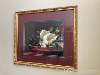 Magnolia Print W/Gold Frame