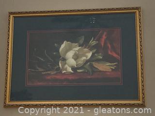Large Magnolia Print W/Gold Frame