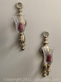 Ornate Wall Sconces W/Votive Candle Holders  Lot of 3 Sconces/Votives (only 2 in first picture)