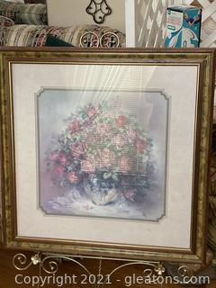 A Burst of Colorful Roses in Vase/Print