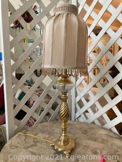 Shabby Chic Brass/Glass Lamp W/Exquisite Beaded Lamp Shade