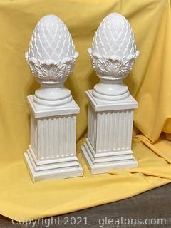 Impressive Artichoke Finial on Top of Square Fluted Column Lot of 2