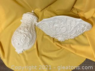 """19th Century """"Replica"""" of French Provincial Lavabo Water Fountain/Sink White Plaster Cast Replica Lot of 2 Items"""
