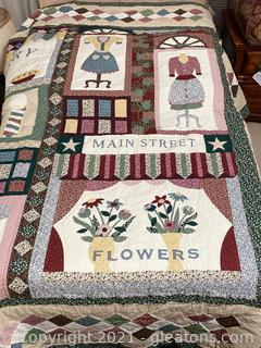 """Hand Quilted Colorful Quilt """"Memories of Times Gone By"""""""