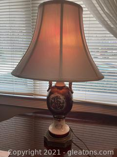 Victorian Style Colonial Scene Marble Painted Ceramic Table Lamp on Metal Base
