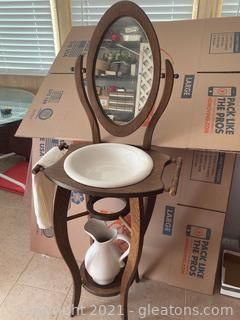 Wooden Wash Stand W/Mirror 2 Towel Holders, Bowl and Pitcher