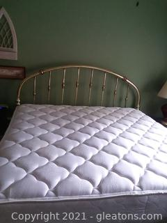 King Size Brass Headboard with Mattress and Boxsprings