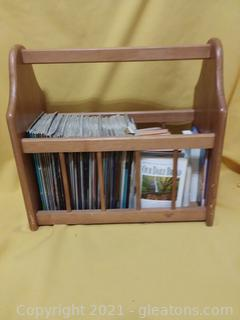 Small Wooden Magazine Stand (Includes Contents)