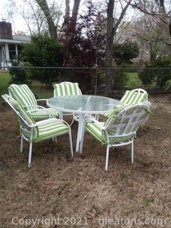 6 Piece Patio Set – Table and 5 Chairs- Includes Reversible Cushions