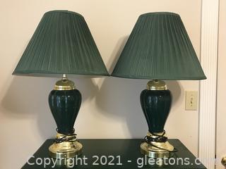 Emerald Green Ceramic Table Lamps (Set of 2)