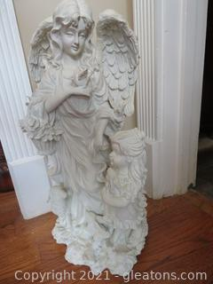Resin Angel with a Little Girl Figurine