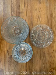 Exquisite Crystal/Glass Bowl And Platters