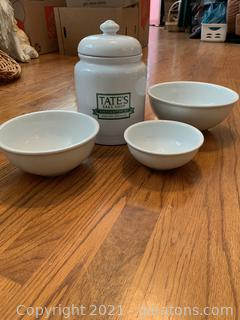 Tates Bake Shop Canister and Mixing Bowls