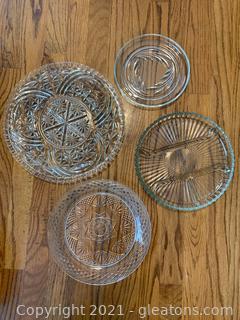 4 Cut Glass Platters