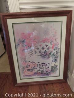 Large Garden Bench Print- Framed