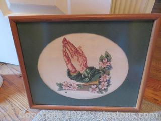 "Beautiful Counted Cross Stitch ""Praying Hands"" Framed"