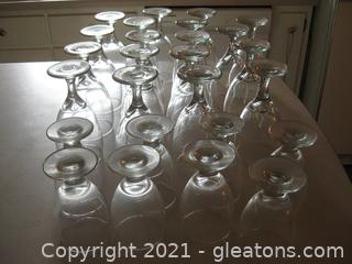 Large Group of Stemmed Water Glasses