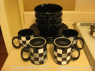 Mixed Set of Black and Buffalo Check Everyday Dishes