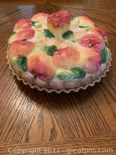 "Ceramic Covered Pie Plate ""Apple"""