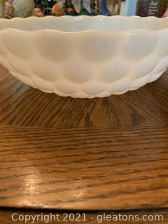 Hobnail Milk Glass Bowl