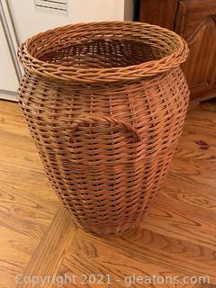 Tall Wicker Basket W/Handle