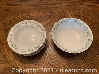 Gibson Vegetable Bowl & Soup Bowls (Lot of 7)
